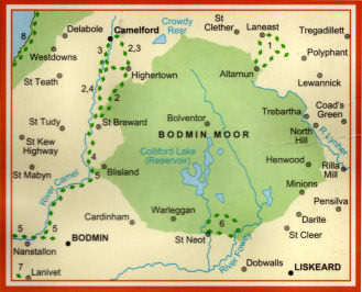 Bodmin Moor Map Oliver's Cornwall   Bodmin Moor Walks
